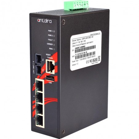 4 ports Industriel 10/100Mbit + 1 x 100Mbit SC Multi Mode managed PoE switch. DIN-beslag. -10 - +70°C, 12 - 36VDC