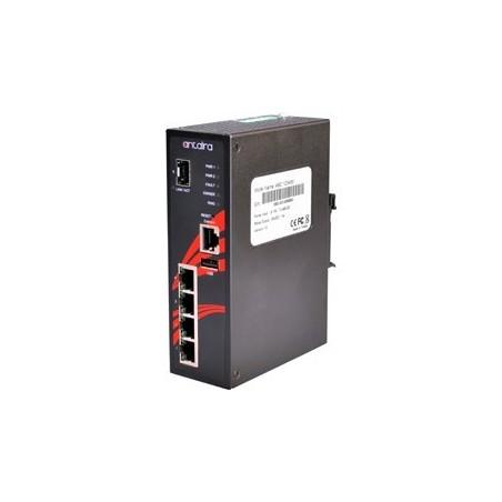 4 ports Industriel 10/100/1000Mbit switch + 1 x Gbit SFP slot, DIN-beslag, -10 - +70°C, 12 - 48VDC