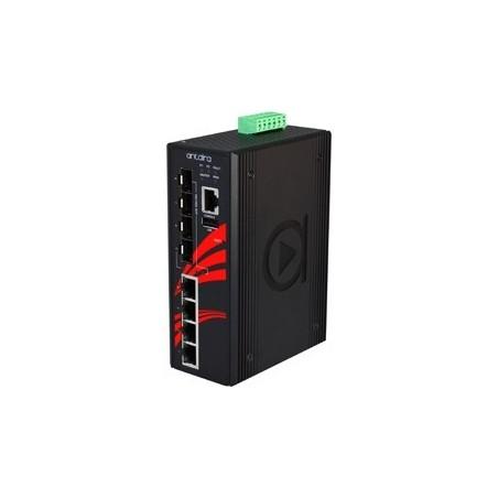 4 ports Industriel 10/100/1000Mbit + 4 ports 100/1000Mbit SFP slot, managed switch. DIN-beslag. -10 - +70°C, 12 - 48VDC