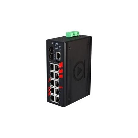 10 ports Industriel 10/100/1000Mbit + 2 ports 100/1000Mbit SFP slot, managed switch. DIN-beslag. -10 - +70°C, 12 - 48VDC