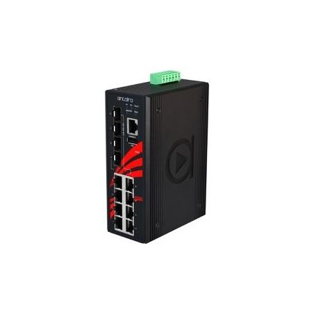 8 ports Industriel 10/100/1000Mbit PoE + 4 x 100/1000Mbit SFP switch, DIN-beslag, -40 - +75°C, 48 - 55VDC