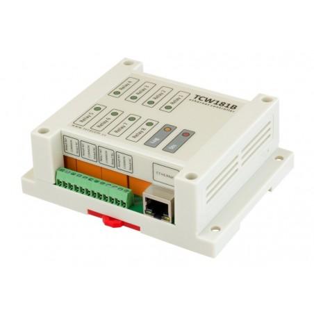 Modul med digital I/O via Internet/LAN, 1 x DI, 8 x Relæ udgange
