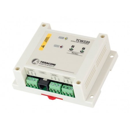 Datalogger til digital og analog signaler via Internet/LAN, 2 x DI, 2 x analog, 2 x relæ udgang, 1-wire input, MODBUS