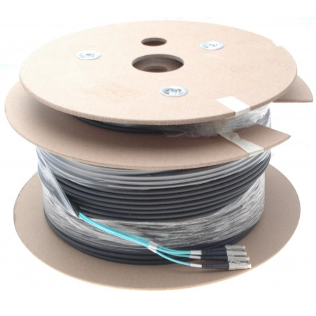 Armeret fiberkabel Multi Mode, 50/125μm, 4 x LC stik. Sort, 150 m
