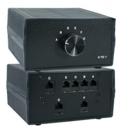 6-ports manuel RJ45 omskifter. Desktop RJ45 6:1 manuel switch