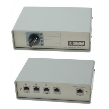 4-ports manuel RJ45 omskifter. Desktop RJ45 4:1 manuel switch