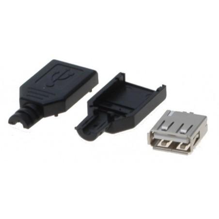 Løst USB A hun stik inkl. kappe til lodning