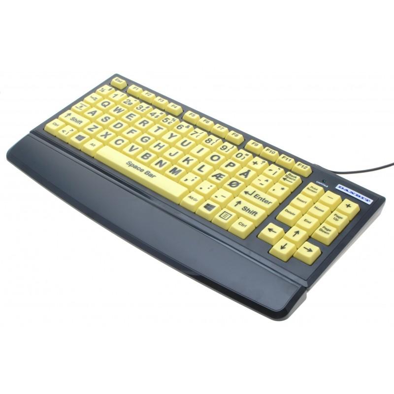 Oversized USB keyboard til svagtseende, handicappede eller børn, dansk layout, indbygget USB HUB, høj kontrast