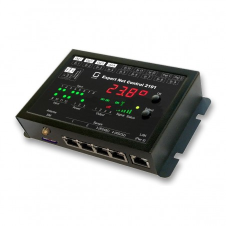 ETH fjernstyring over netværk og GSM styring. 4 x tænd/sluk udgange, 12 x passive indgange, 4 x RJ45