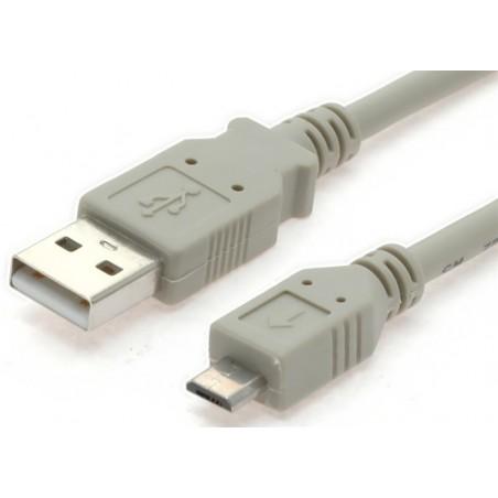 Micro USB kabel til Smartphones, A han – micro B han, AWG28, grå, 1,0m