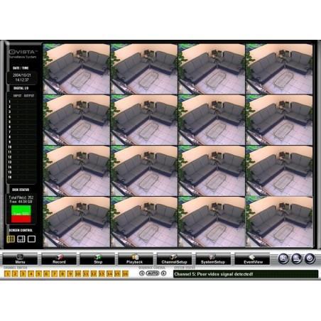 PCI-kort med kameraindgange og mange avancerede funktioner, 16 kanals analog videoovervågning til pc