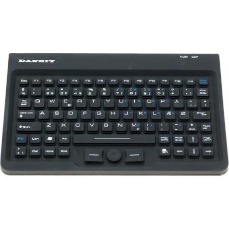 Hygiejnisk IP67 tæt tastatur med trackpoint - USB - Nordic
