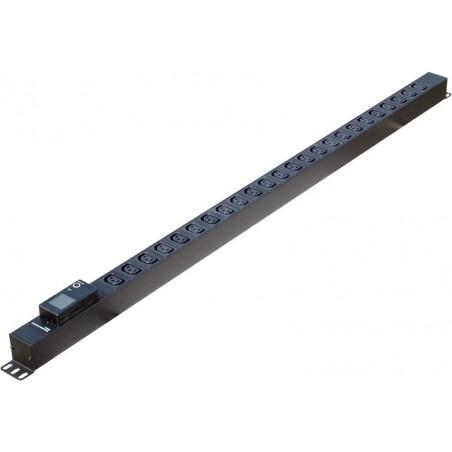 """Strømskinne til 19"""" rackkabinet, 24 x IEC C-13 hunstik, 16A CEE hanstik, LCD display til spænding, strøm, kWh, sort"""