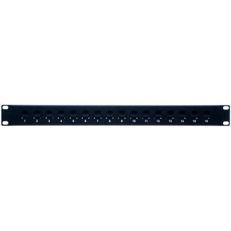 16 ports Patch panel med 16 x RJ45 UTP gennemgangs stik, 1U, sort