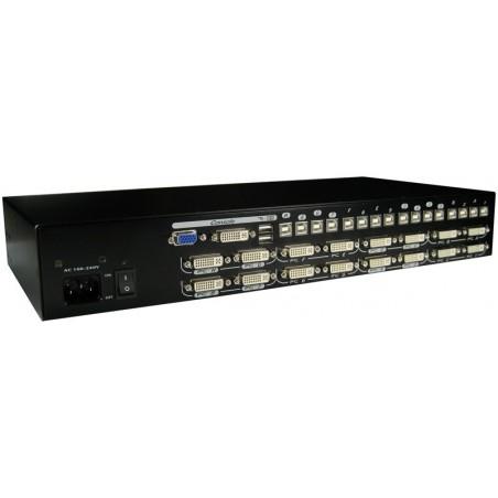 16 ports KVM omskifter, DVI, USB og lyd