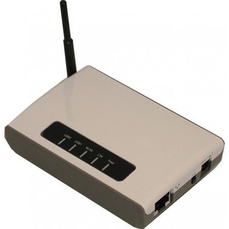 2 USB 2.0 porte over trådløst netværk. Kan også bruges til fil-, scanner eller printserver