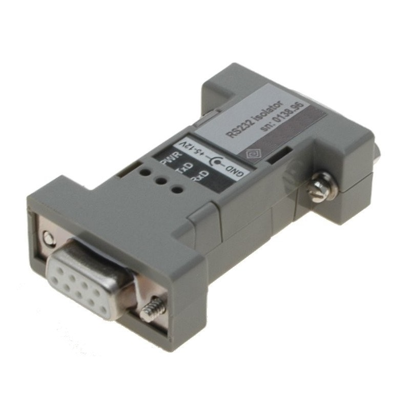 Galvanisk isolator til RS232, DB9 han/hun, RX, TX, RTS, CTS, 12VDC