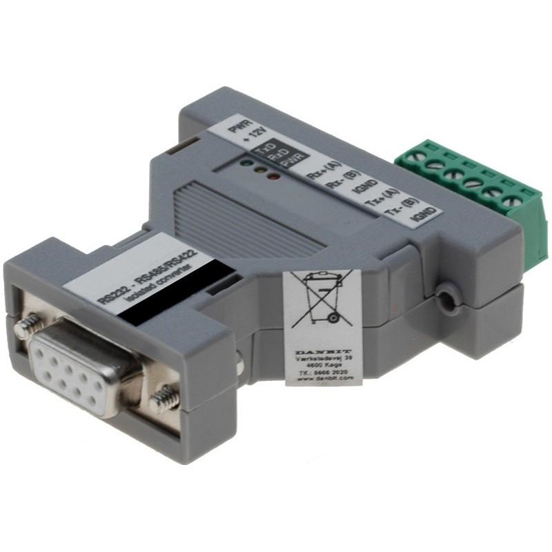 Optoisoleret RS232-RS422-RS485 adapter m. DB9 stik og skrueterminaler