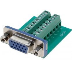 Terminalblok med DB15HD VGA stik. Adapter med 16 skrueterminaler
