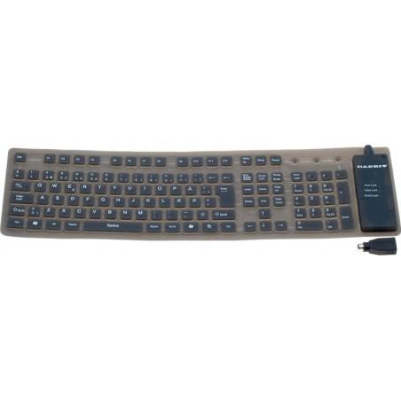 Bøjeligt IP65 tæt silikonetastatur - USB og PS/2, nordisk tegnsæt, grå