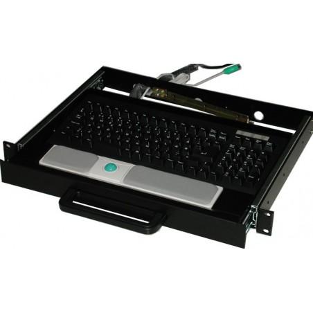 """19"""" 1U udtræksskuffe med trackball, sort, ekskl. keyboard"""