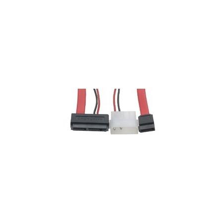SATA omformerkabel. Micro SATA-kabel 2 strømstik og 1 x 5 ¼ strømstik, 0,5 m