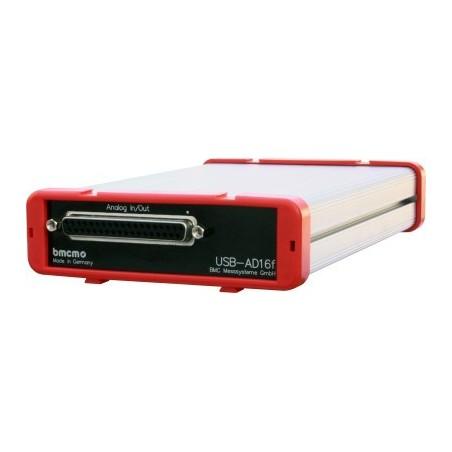 16 x spændiingsmåling via USB, +/-10V, 16bit, 2 Analog ud +/-10V, 16bit, 4 x DI/DO