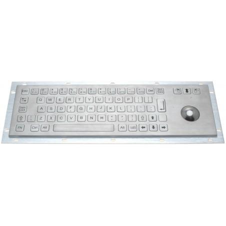 IP65 rustfrit stål tastatur med trackball. Til industribrug – meget robust og vandtæt, USB, US tegnsæt