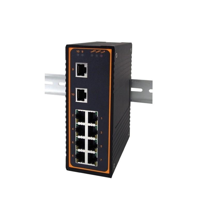 10 ports switch 8 x 10/100 RJ45 + 2 x RJ45 Gigabit, Unmanaged, 12-48VDC