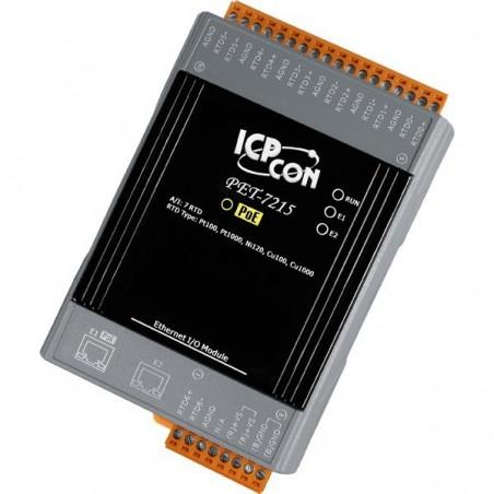 7 x indgange til termoføler (differential), pt100,Ni, Belco, til LAN med PoE, med 2 ports LAN switch, 10-30VDC