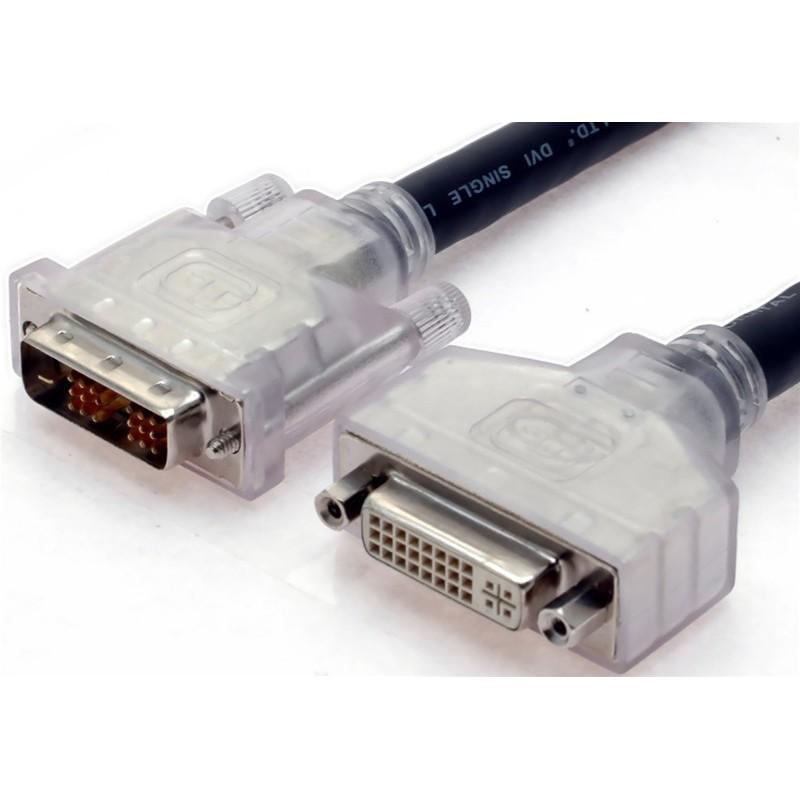SLAC DVI kabel, DVI-D han til DVI-D hun, Single Link. Til lange kabeltræk, AWG24, sort, 2,0m