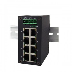 8 ports Gigabit switch RJ45, DIN, IP30 - Unmanaged, 9-48VDC
