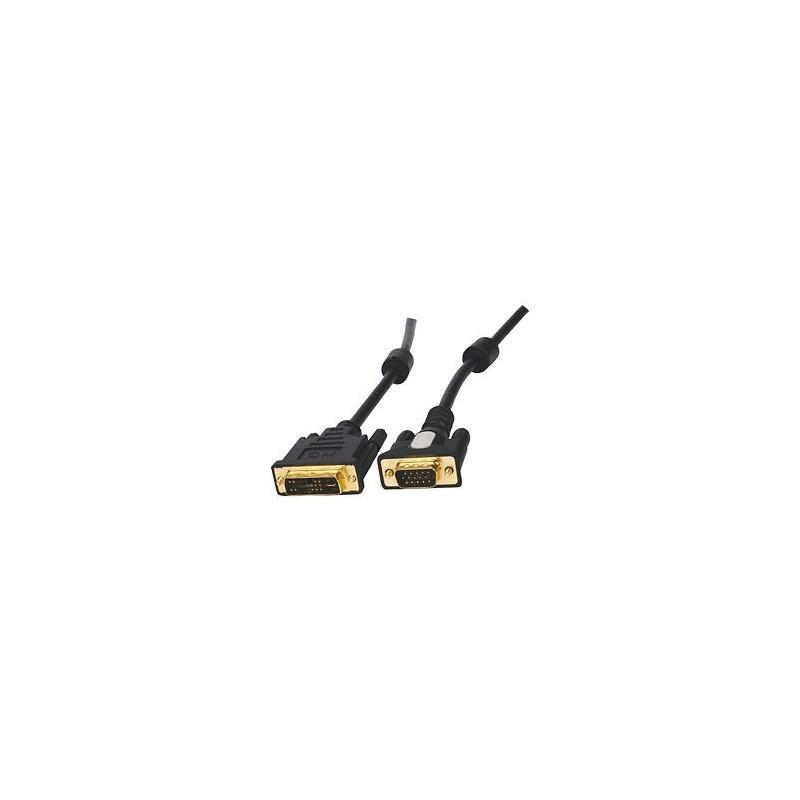 DVI-A kabel overfører kun analogt (VGA), DB15HDM han, 28 AWG