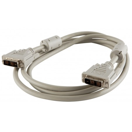 DVI kabel, DVI-D han til DVI-D han, Dual Link, grå, 2,0m