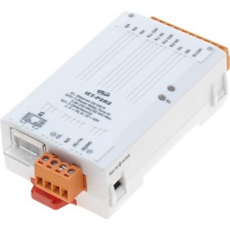Web-baseret I/O modul, 2 digitale input, 2 relæ output, kan strømforsynes via PoE