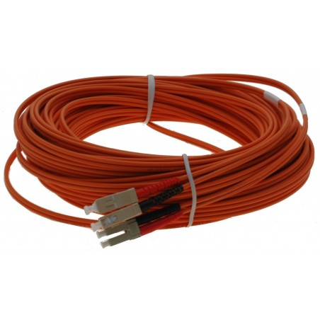 Fiberoptisk kabel med fleksibel armering af rustfrit stål - multimode SC-LC, 25 meter