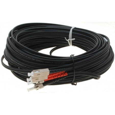 Fiberoptisk kabel med fleksibel armering af rustfrit stål - multimode SC-ST, 25 meter