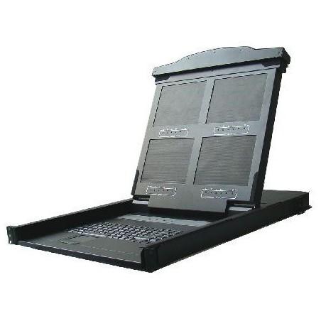 """19"""" 1U konsol med 14"""" quad monitor, tastatur, touchpad"""