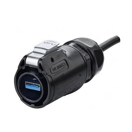 Vandtæt USB kabel-sæt, IP68 tæt i ene ende - 3 meter. Med chassis-stik i metal IP68 USB hun/hun gennemgang