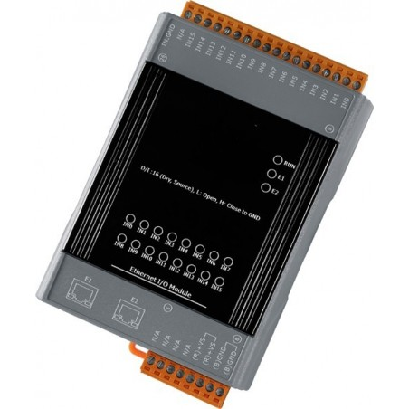 Web-baseret I/O modul med 16 digitale input og 2 port Ethernet switch