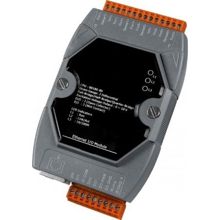 2 x analog til Strain Gauge, 0-20mA, 1 x analog ud, 2 x digitale ind, 2 x digital ud (OC). LAN