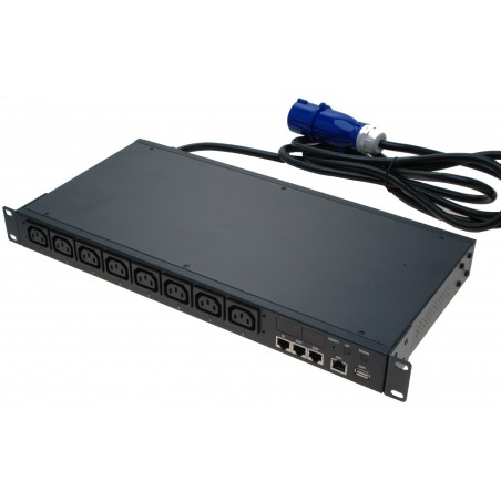 Energimåler/logger med 8 x 230VAC IEC C13 udtag via netværk. Måler per udtag i kWh. Til rack montering, 1U.