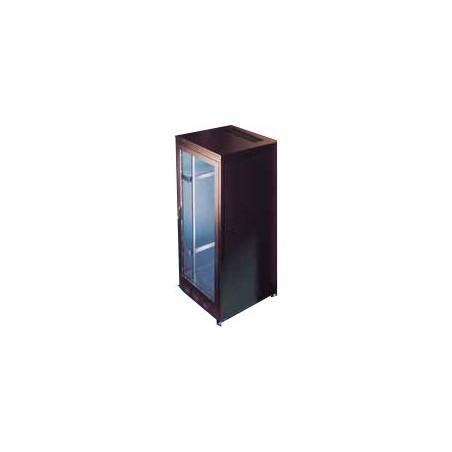 "24U 19"" rackskab, sort, 60cm dyb. Med glasdør"