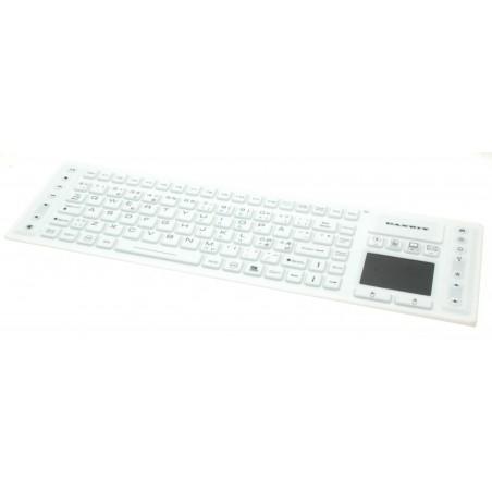 Hvidt trådløst, hygiejnisk, IP68 støv- og vandresistent tastatur med touchpad