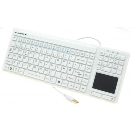Hvidt, hygiejnisk IP68 tæt silikonetastatur med touchpad - USB - Nordic