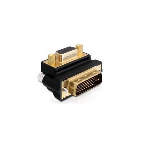 Adapter DVI-I han til DB15HD hun, 90° højrevinklet.