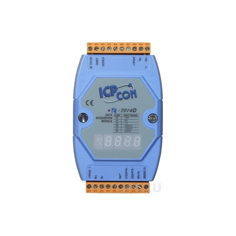1 x analog ind, 1 x digital ind, 2 x digital ud, display, RS485 bus