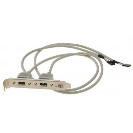 Restlager Bagplade til 2 x USB med 60 cm kabel
