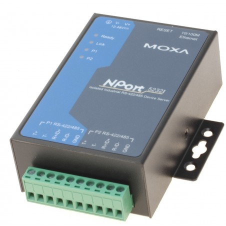 2 ports serielportserver, MOXA NPort 5232I, RS422/RS485 optoisoleret