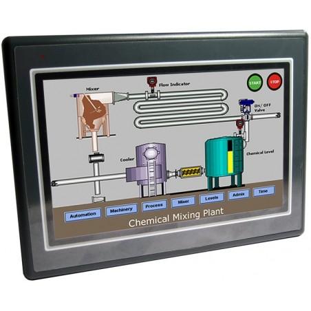 Betjeningspanel kombineret med PLC og Ethernet.
